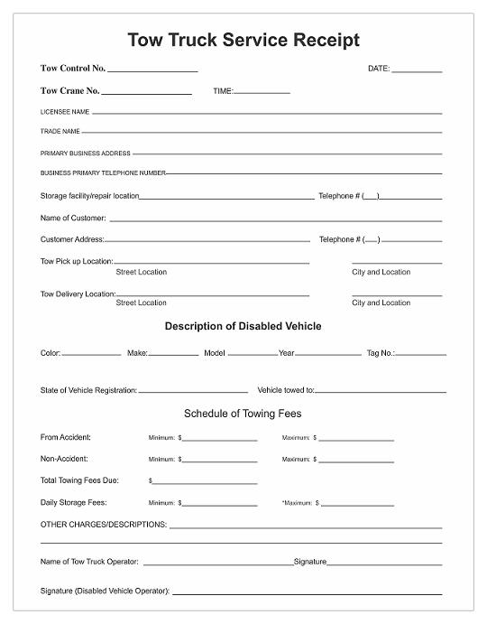 Custom Printed Tow Truck Service Receipts